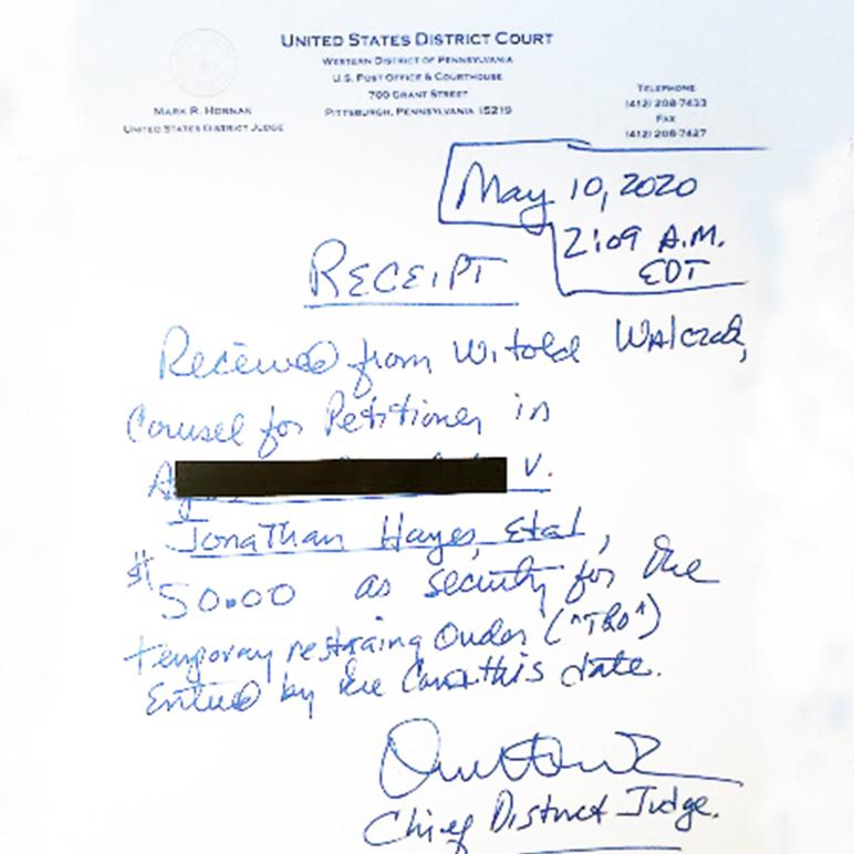 Hornak security receipt redacted